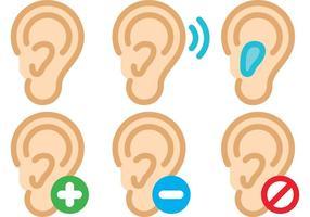 Ícones do vetor da orelha humana