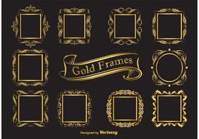 Frames elegantes de vetores de ouro