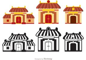 Vetores do templo chinês