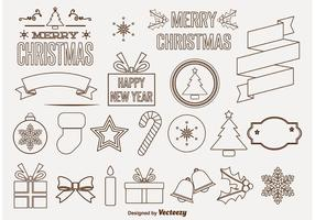 Ornamentos decorativos do vetor do Natal