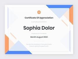 modelo moderno de certificado azul e laranja vetor
