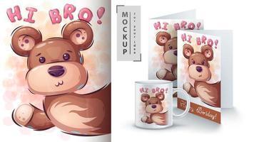 cartaz do urso de peluche olá! vetor