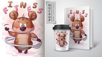 cartaz de fitness hamster dos desenhos animados vetor