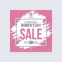 desconto de venda do dia internacional da mulher cartaz de meio-tom escovado vetor