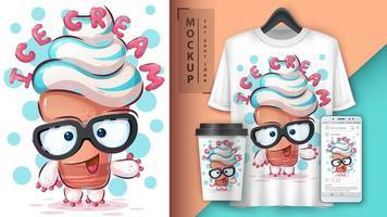 sorvete bonito dos desenhos animados com óculos poster vetor