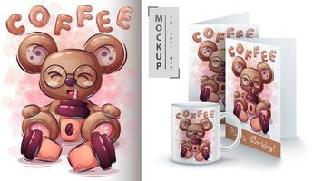 urso bebendo café poster vetor