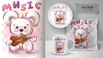 urso de música com violino poster vetor