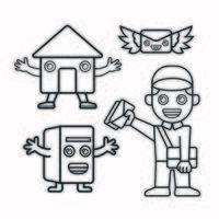 carteiro, caixa de correio, correios, correio com asas vetor