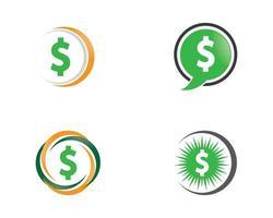 ícones de dinheiro em conjunto de círculo vetor