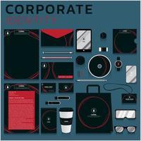 identidade corporativa de círculos vermelhos definida para negócios e marketing vetor