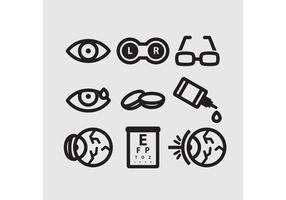 Ícones de vetores de optometria