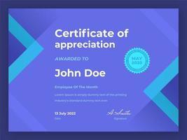 certificado geométrico empregado do mês vetor