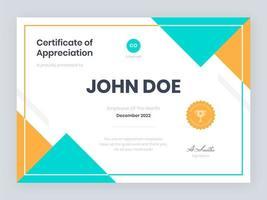 certificado moderno de modelo de agradecimento vetor