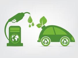símbolo do carro com o conceito de ecologia de folhas verdes vetor