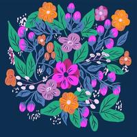 servindo padrão floral com flores coloridas brilhantes vetor