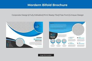 design de modelo bi-fold corporativo de cor ciana vetor