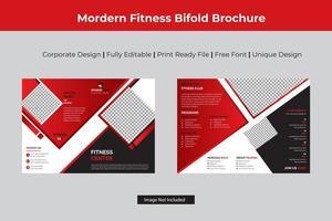 brochura de fitness vermelho bi-fold com detalhes de diamante vetor