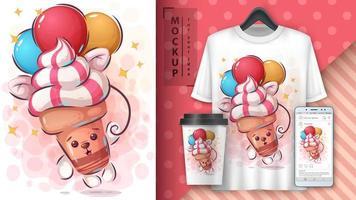 sorvete segurando balões cartaz vetor