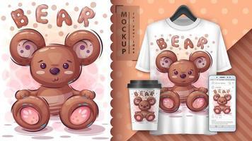 cartaz bonito do urso de peluche