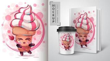 cartaz de cone de sorvete de artista vetor