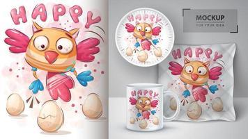 pássaro feliz com ovos pôster vetor