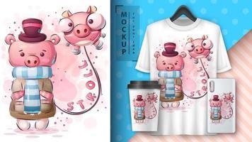 cartaz bonito do passeio do porco do inverno vetor