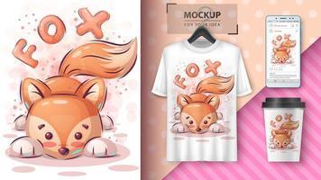 cartaz de raposa bonito dos desenhos animados vetor