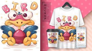 cartaz cor-de-rosa e amarelo bonito do pássaro vetor