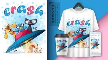 animais dos desenhos animados no cartaz de acidente de ufo vetor