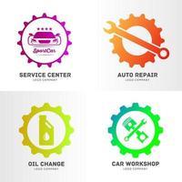 conjunto de logotipo de negócios de serviços automotivos vetor