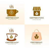 conjunto de design de logotipo de café vetor