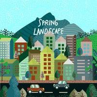 paisagem de primavera cidade moderna em estilo simples vetor