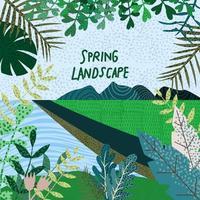 primavera natureza paisagem vetor