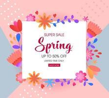 banner de venda primavera floral vetor