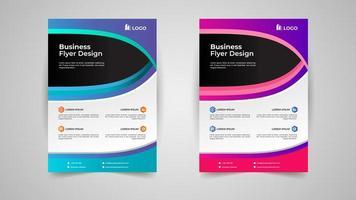 conjunto de modelo de panfleto de negócios criativos azul e rosa