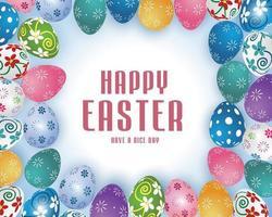 cartaz de feliz páscoa com ovos estampados coloridos vetor