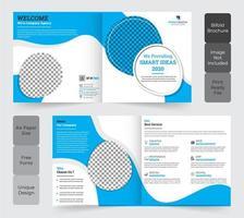 design de modelo de folheto corporativo quadrado bi-fold vetor