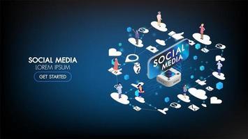página de destino isométrica de marketing de mídia social com caracteres vetor