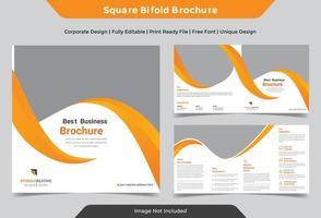 design de brochura quadrada dobrada amarela de negócios corporativos vetor