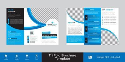 design de modelo de três dobras corporativo de negócios de curva azul e branca vetor