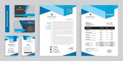 conjunto de design de modelo de papelaria corporativa de formas azuis vetor