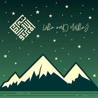 dia de isra e miraj no fundo estrelado da montanha vetor