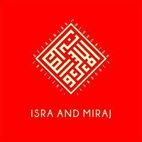 caligrafia árabe para dia islâmico em fundo vermelho vetor