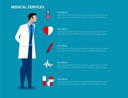 homem médico serviços médicos landing page