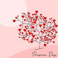 '' propor dia '' coração árvore fundo vetor