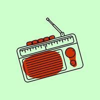 rádio de transistor vintage de contorno vetor