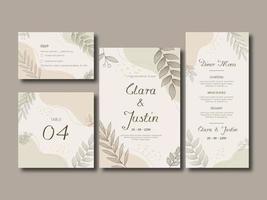 cartão de convite de casamento floral e líquido elegante vetor