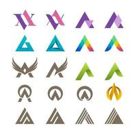 coleção de logotipo tipográfico letra a ou v vetor