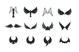 conjunto de ícones de asa e anjo