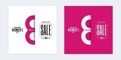 banners de corte de papel de desconto de venda internacional do dia da mulher vetor